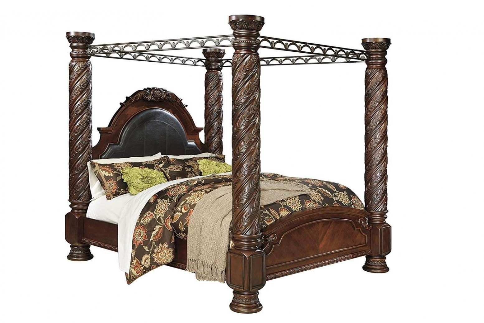 Ashley Sm North Shore Wood Canopy King Size Bed Dark Brown By Ashley Furniture Sohomod Com