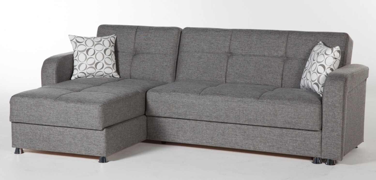 Vision Reversible Sleeper Chenille Fabric L Shaped Sectional Sofa Diego Gray By Istikbal Sohomod Com