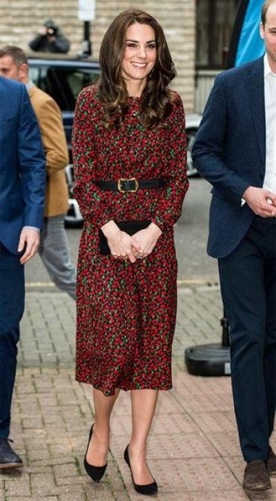 Kate Middleton Red Printed Dress