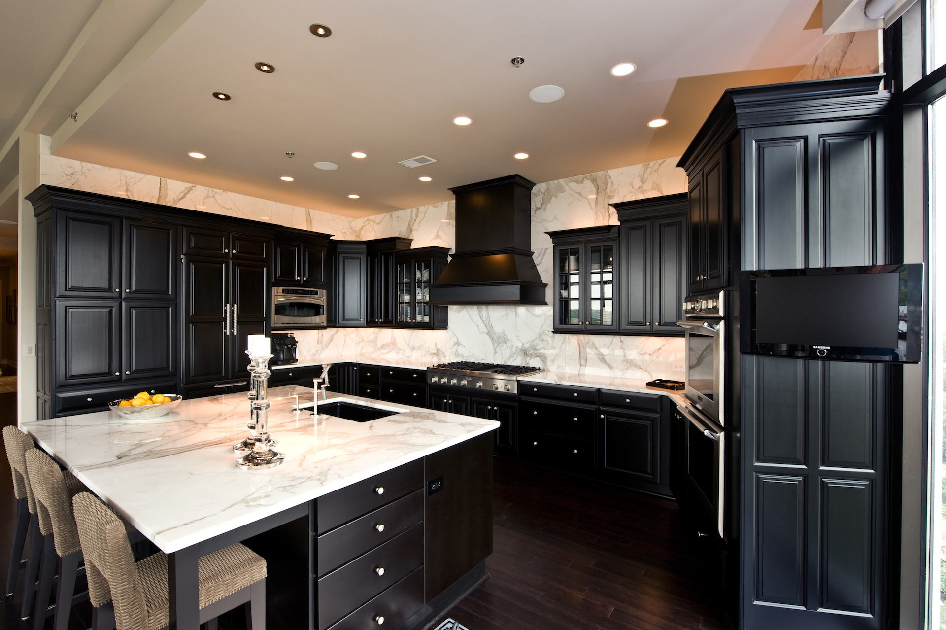 Dark Countertops With Dark Cabinets Bella View Calacatta Gold Marble Countertop