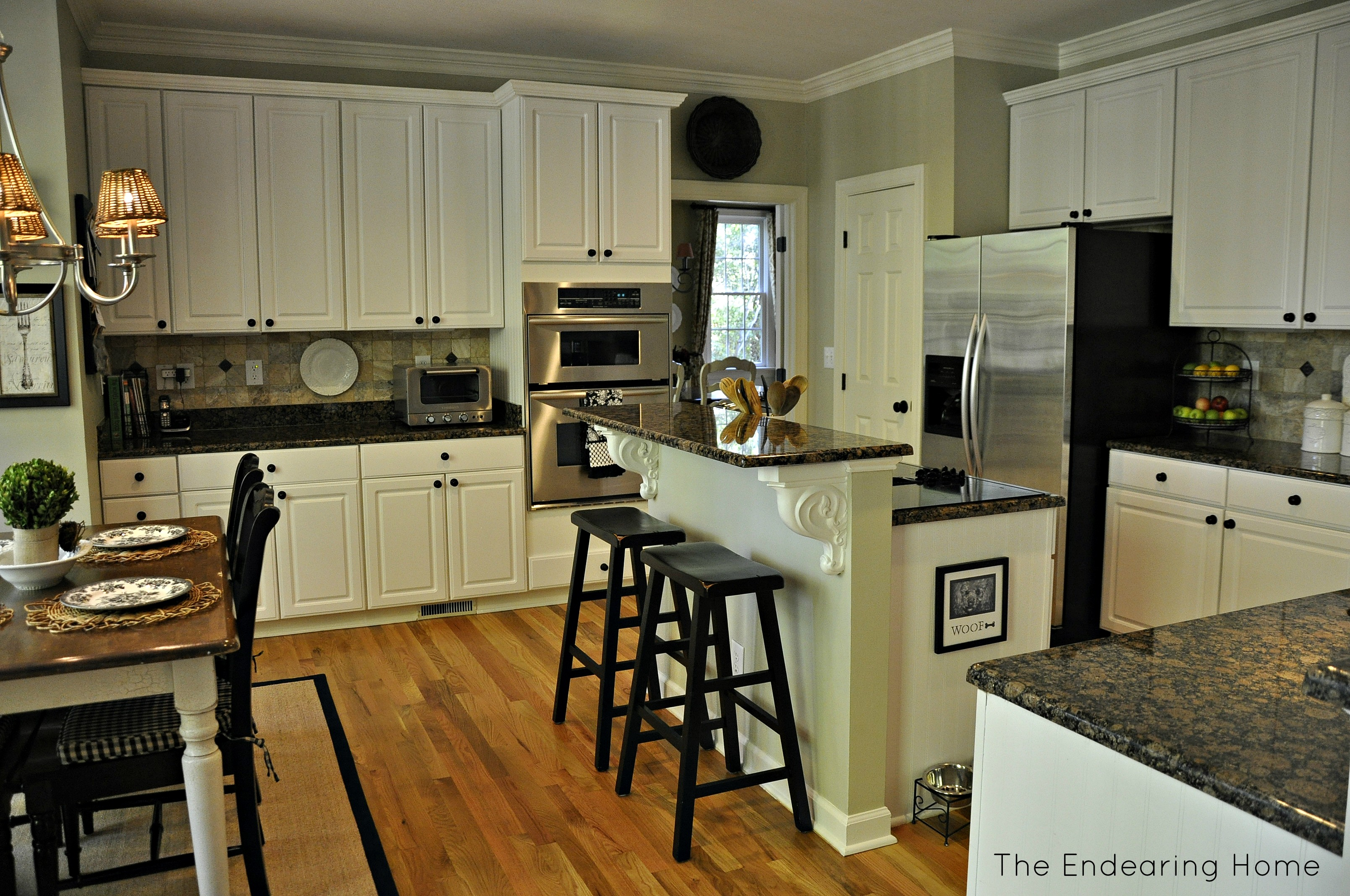 Kitchen Cabinets Red Oak Floors Baltic Brown Granite White Cabinets Backsplash Ideas
