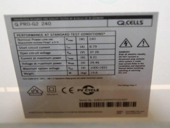Qセルズ製「Q.PRO-G2 240」240W多結晶パネル