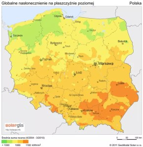 Poland Solar Radiation Map. (© 2011 GeoModel Solar s.r.o.)