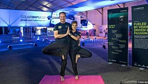 solar impulse 2 pilot doing yoga from solar impulse