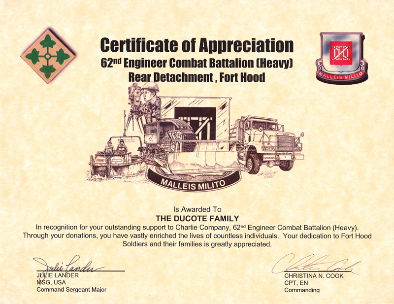Certificates and partnerships - Operation Soldier Assist - military certificate of appreciation template