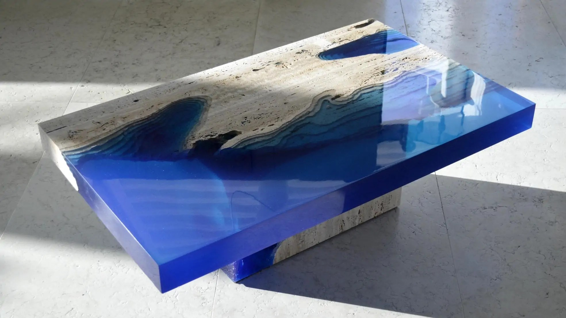 Resin Couchtisch The Lagoon Table Brings A Seascape Of Marble And Resin