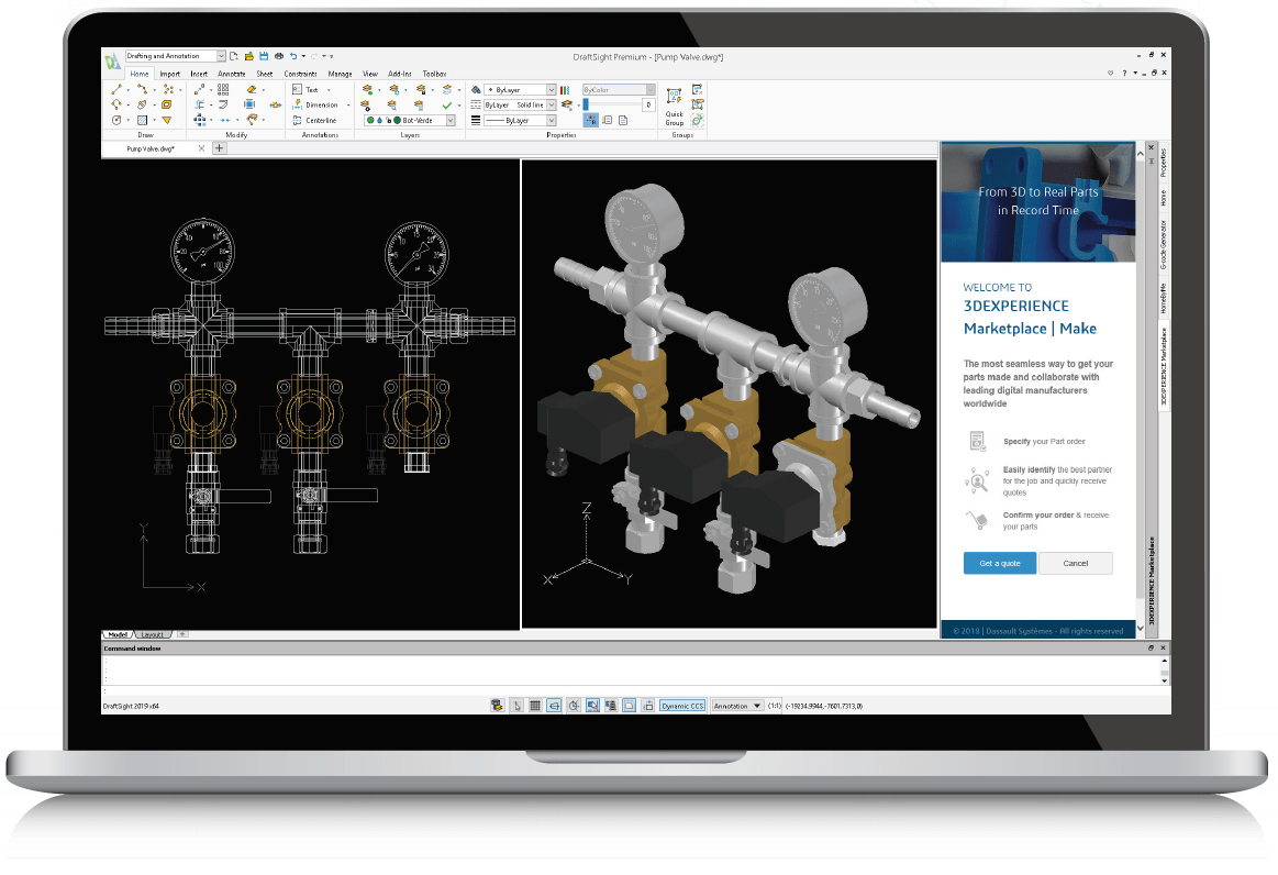 3d Programma Draftsight 2d Drafting And 3d Design Software Solidworks