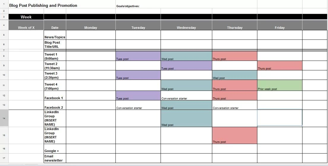 The Best Content and Social Media Calendar Templates - Solo PR Pro - social media schedule template