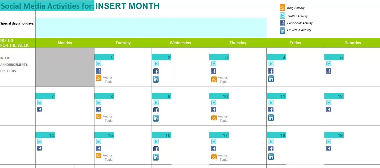 Sample Calendar Template Work Attendance Sheet Sample Of Social - sample quarterly calendar templates