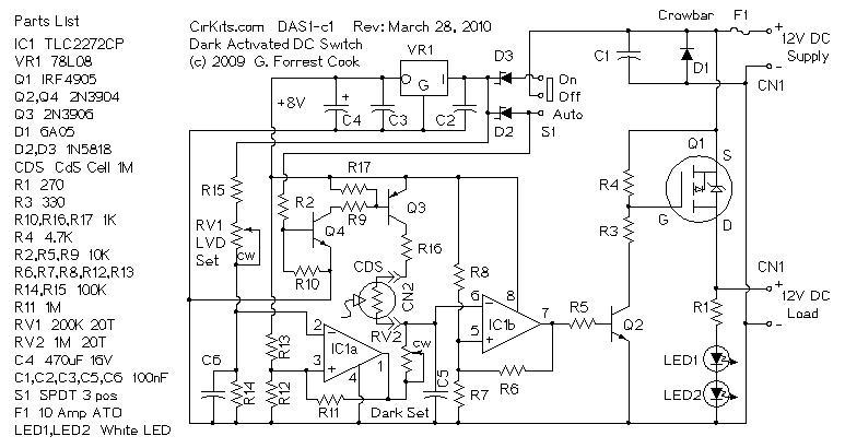 DAS1 - 12 Volt 10 Amp Dark Activated Switch