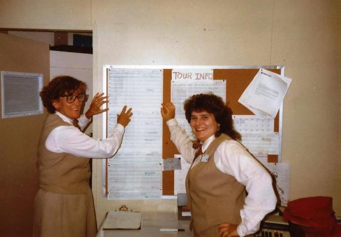 That's me on the right and my roommate Madge on the left in our fashionable, brown, wrinkle-monster polyesterr uniforms as group tour clerks at Canyon Lodge in Yellowstone National Park. We were stylin, right? Summer 1991