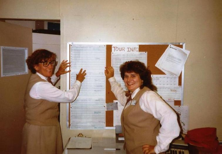 That's me on the right and my roommate Madge on the left in our fashionable, brown, wrinkle-monster polyester uniforms as group tour clerks at Canyon Lodge in Yellowstone National Park. We were stylin, right? Summer 1991