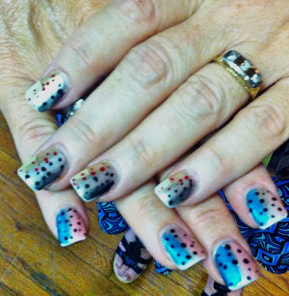 Nail Art - Brown Trout on Top, Rainbow Trout on the Bottom