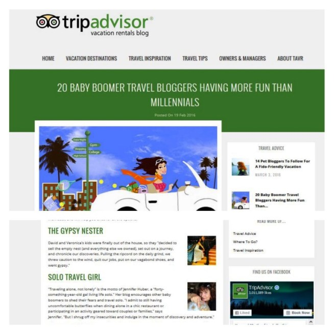 Jennifer Huber of SoloTravelGirl.com Was Recognized as One of 20 Baby Boomer Travel Bloggers Having More Fun Than Millennials by TripAdvisor Vacation Rentals, Feb. 19, 2016