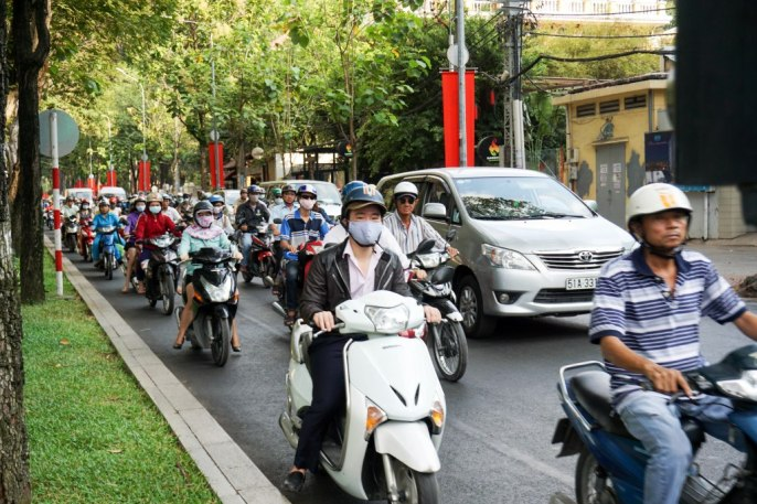 There Are About 7 Million Motorbikes in Ho Chi Minh City, Vietnam, April 2016