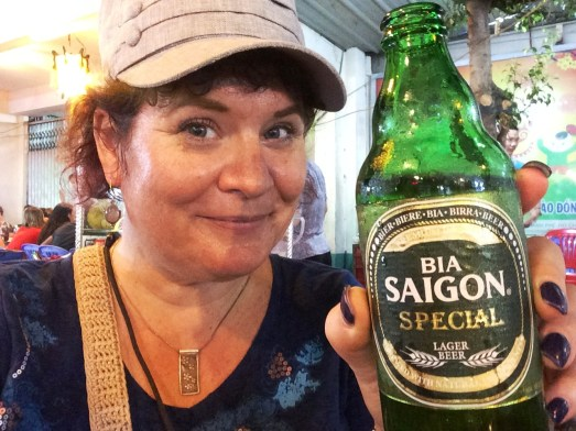 Sipping Saigon Beer, the Domestic Favorite in Ho Chi Minh City, Vietnam, April 2016.