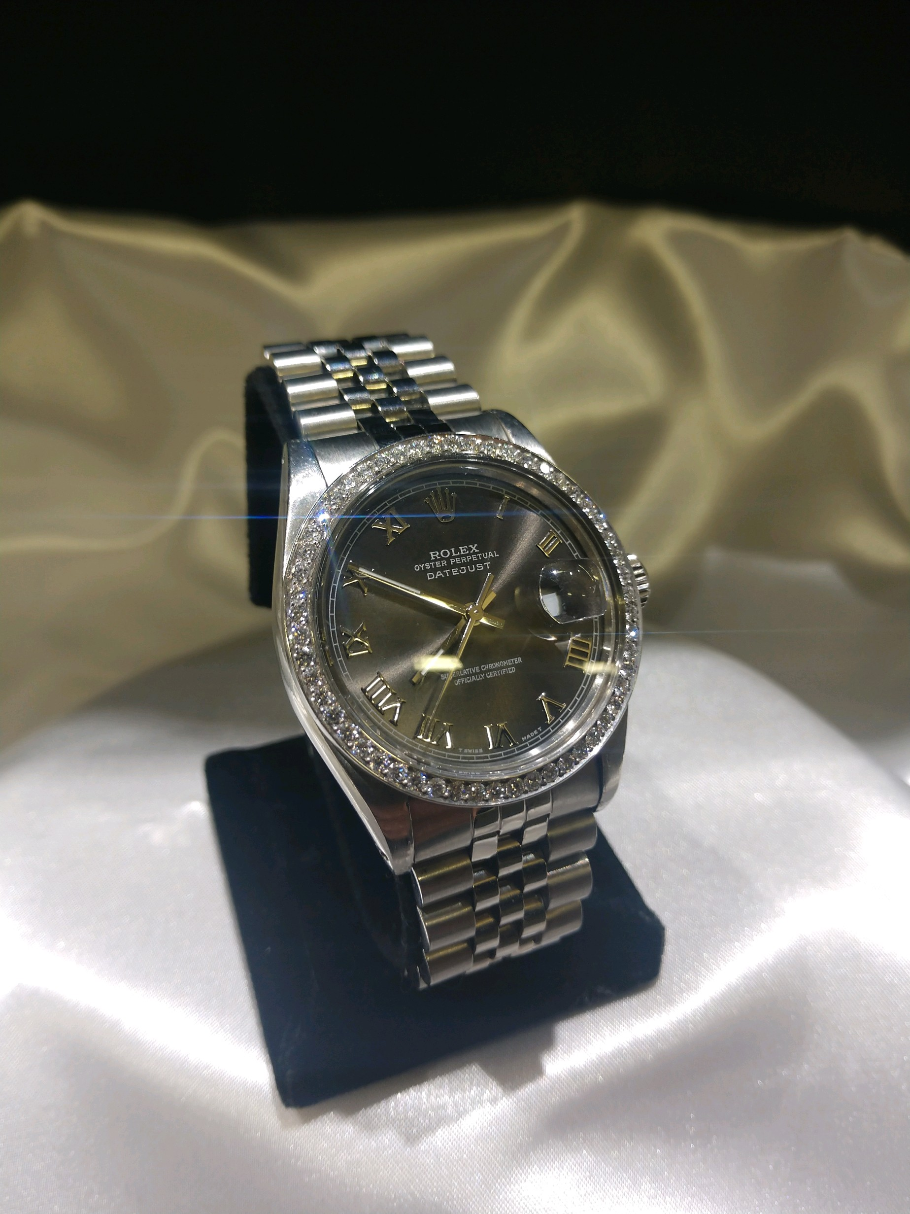 Steel Rolex Stainless Steel Rolex Datejust With A Diamond Bezel