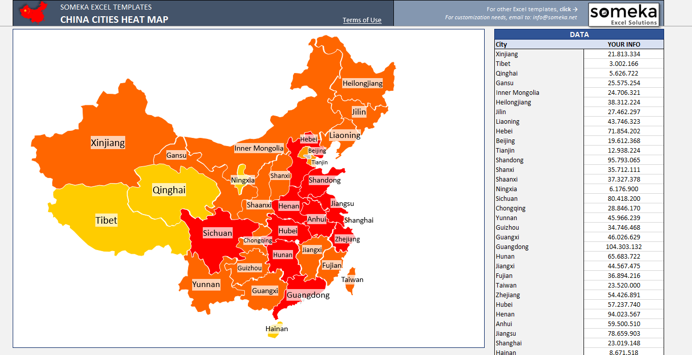 Chinese Geography China Geographic Heat Map Generator