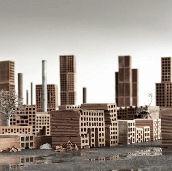 Maquete de cidade com tijolos 2