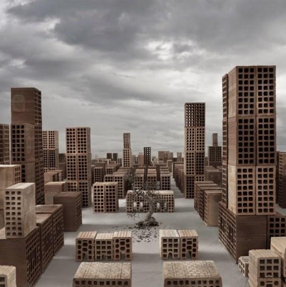 Maquete de cidade com tijolos 4