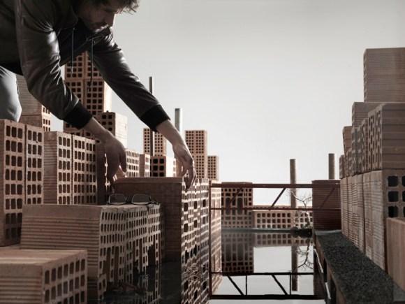 Maquete de cidade com tijolos 9