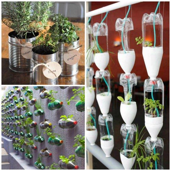 ser reutilizados e transformados em criativos suportes para a horta