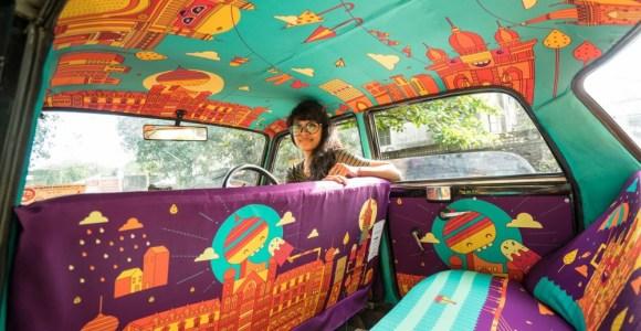 Táxi todo decorado aumenta faturamento e ajuda artistas na Índia
