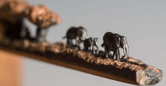 Artista usa lápis para esculpir, em detalhes, elefantes caminhando