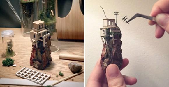 Ela cria complexas e encantadoras miniaturas dentro de tubos de ensaio