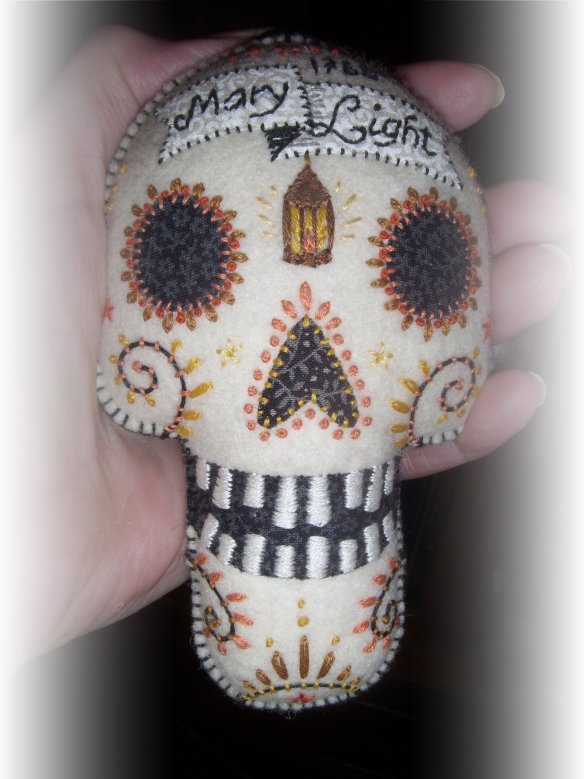 For Mary Light - who ever she was? Hand embroidered memento mori - made by Leslie Ann. (commissioned piece from - https://www.etsy.com/uk/shop/609East)