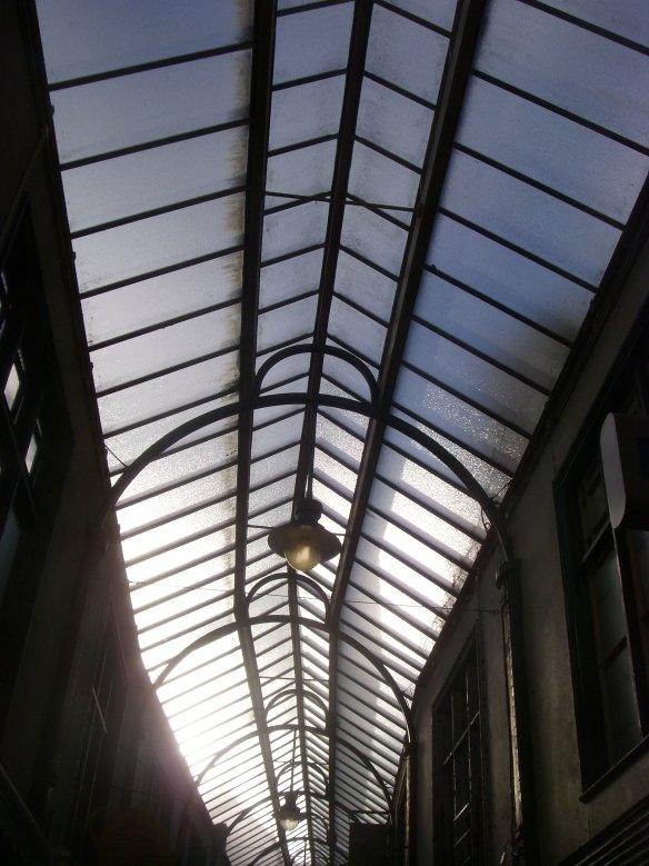The glass roof of Okehampton Arcade yesterday.