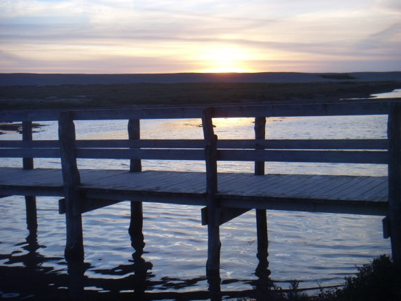 Foot bridge over the water to Chesil Beach...