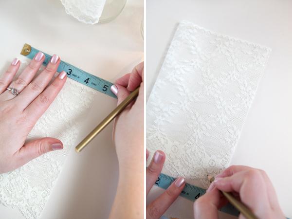 DIY Lace Covered Mason Jars via Something Turquoise
