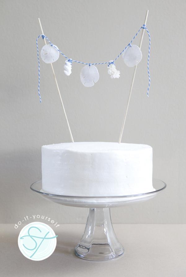 DIY seashell bunting cake topper
