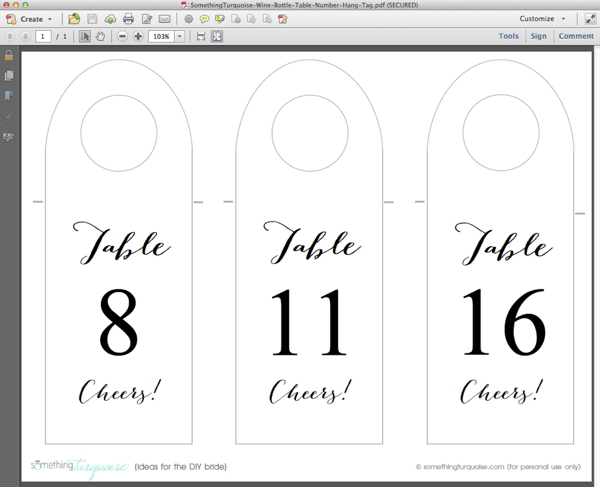 How to make FREE wine bottle table number - hang tags! - wine tag template
