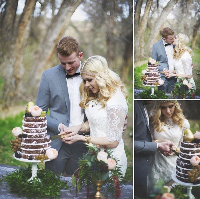 Cutting the wedding cake!