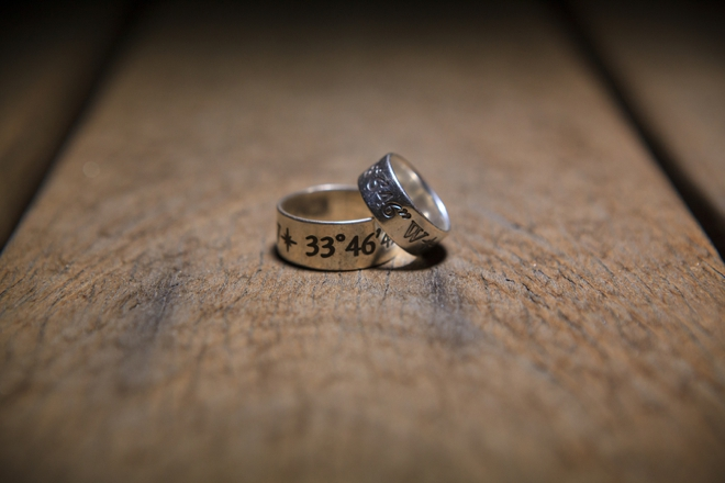 Custom wedding rings with date
