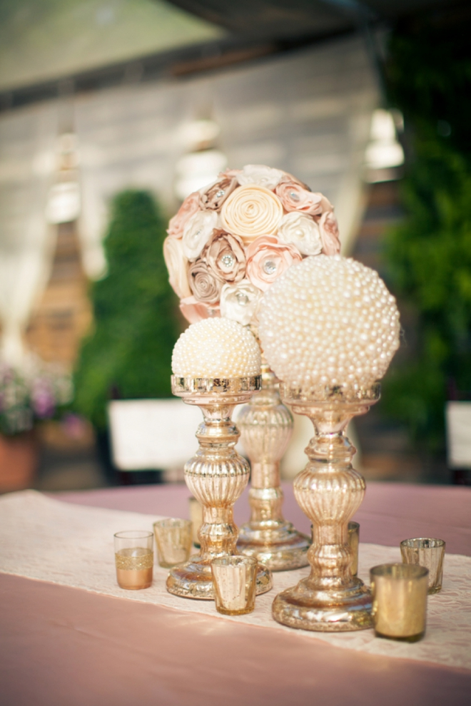 Paper flowers and pearl globe centerpieces!
