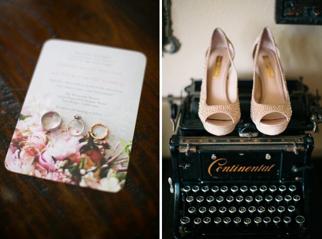 Wedding invitations, rings and shoes!