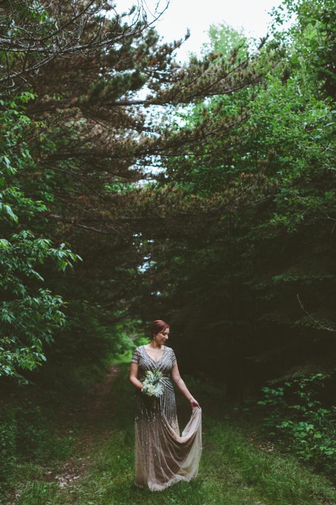 Gorgeous bride in sequin wedding dress