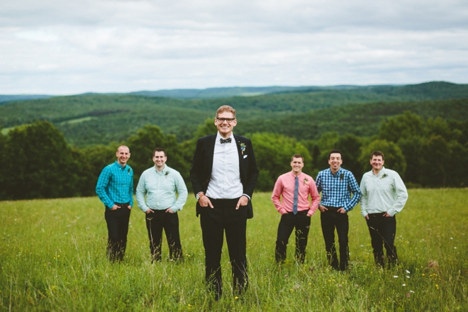 Rustic mountain wedding party