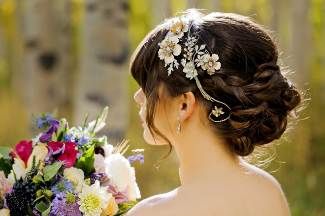 Beautifully braided wedding hair