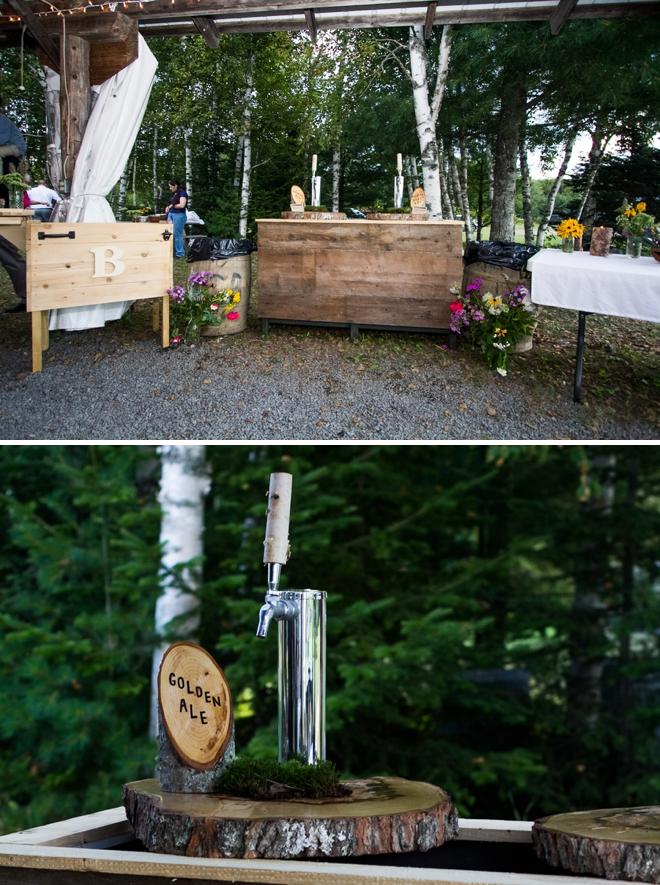 Handmade wedding keg and bar