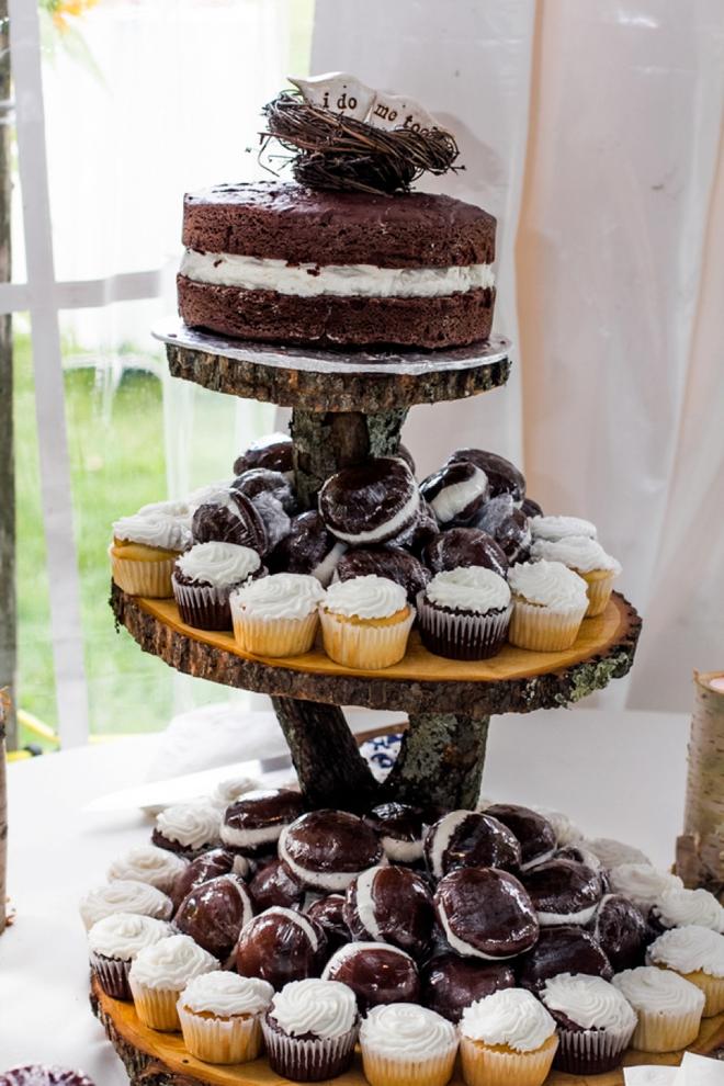 Rustic wood cupcake and cake display