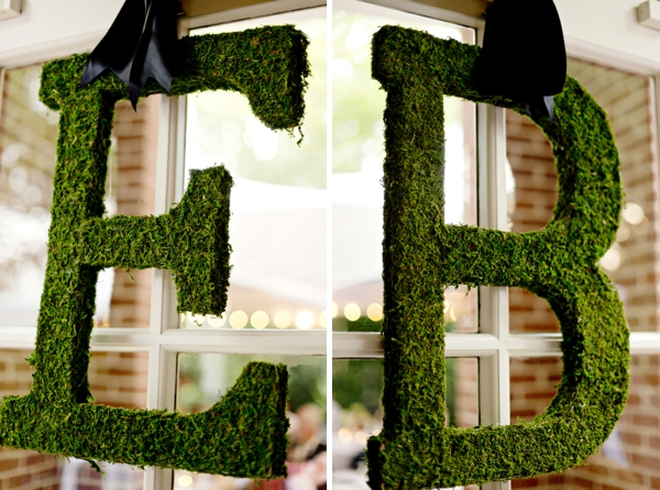 Large moss initial letters for decor