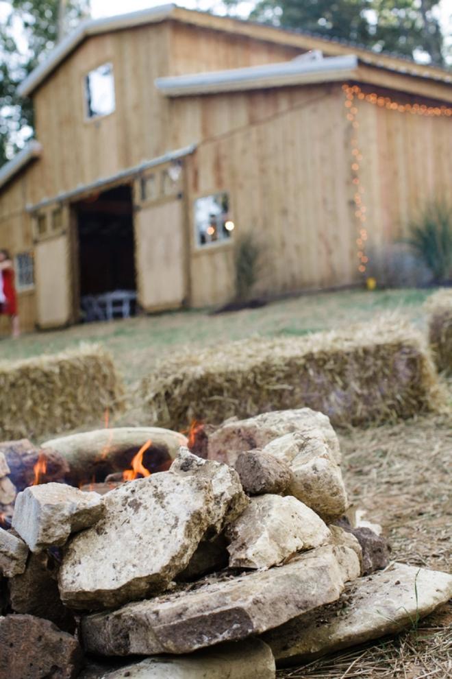 Barn and bonfire