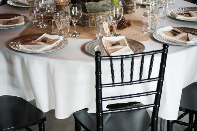 Rustic wedding table with short table cloths