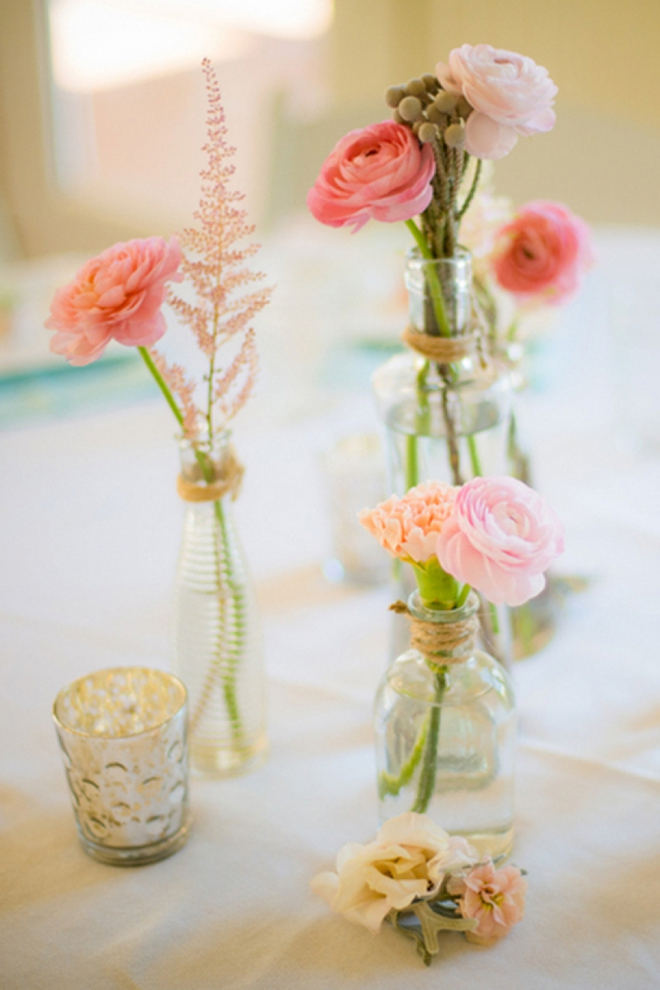 Pink garden rose centerpiece