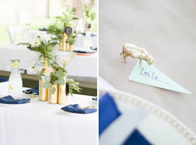 Gorgeous handmade gold and navy blue wedding