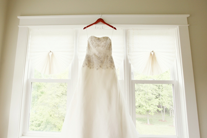 Wedding dress on a bride hanger
